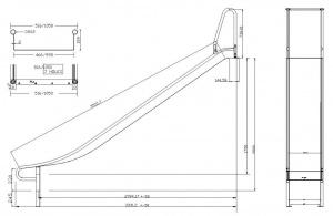Breite Edelstahl-Anbaurutsche mit schwebendem Auslauf